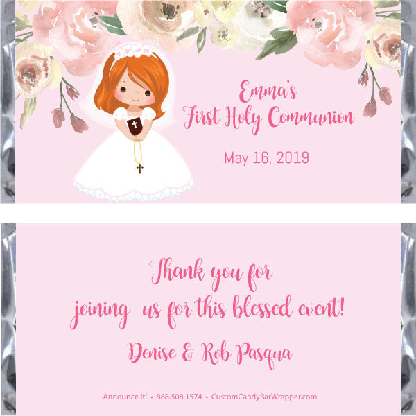 Girl First Communion Candy Bar Wrapper - Red Hair