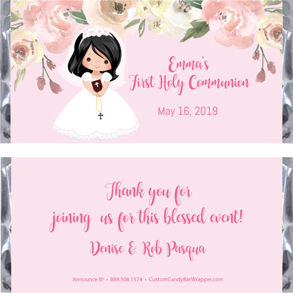 Girl First Communion Candy Bar Wrapper - Black Hair