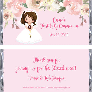 Girl First Communion Candy Wrapper - Brunette