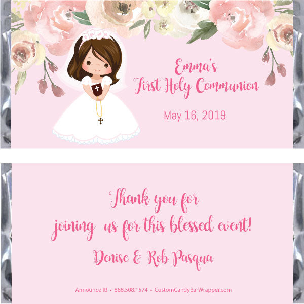 Girl First Communion Candy Bar Wrapper - Brunette