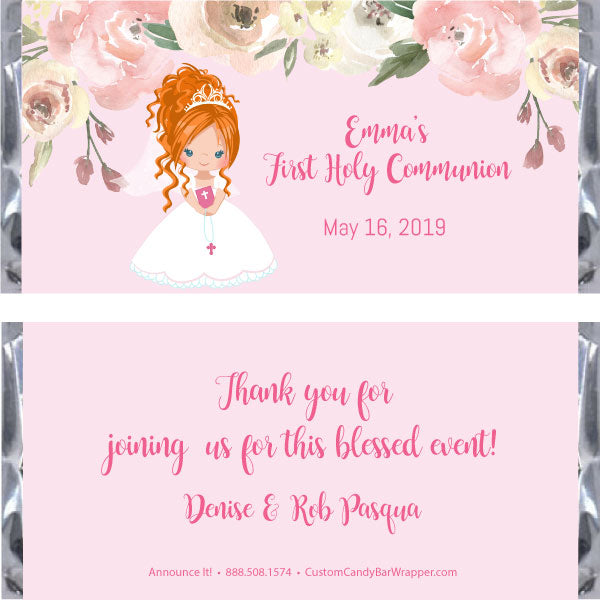 Girl First Communion Candy Wrapper - Red Hair Updo