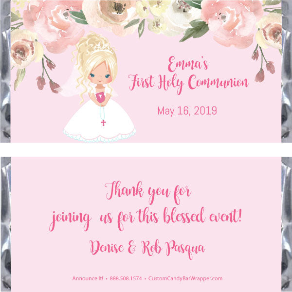 Girl First Communion Candy Bar Wrapper - Blonde Updo