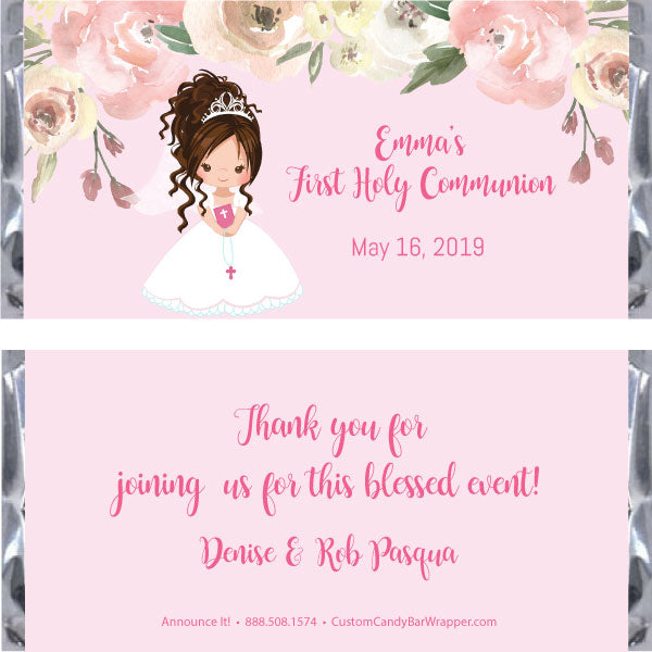 Girl First Communion Candy Wrapper - Brunette Updo