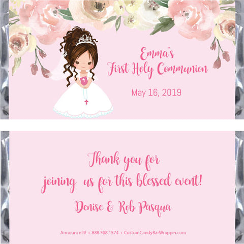 Girl First Communion Candy Bar Wrapper