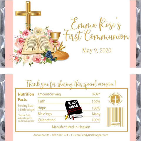 Pink Bible First Communion Candy Bar Wrappers