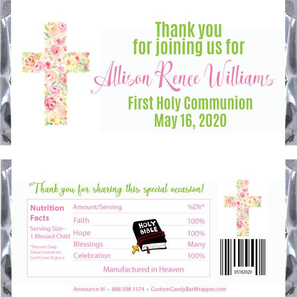 Floral Cross First Communion Candy Wrapper
