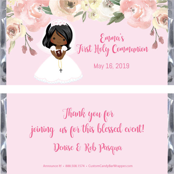Girl First Communion Candy Bar Wrapper - African American