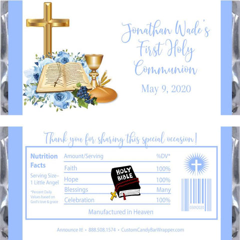 Blue Bible First Communion Candy Wrapper