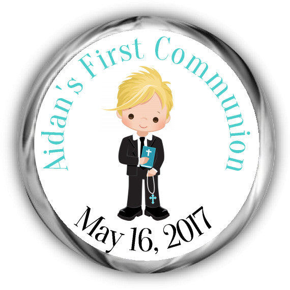 Boy First Communion Kisses Stickers Blonde