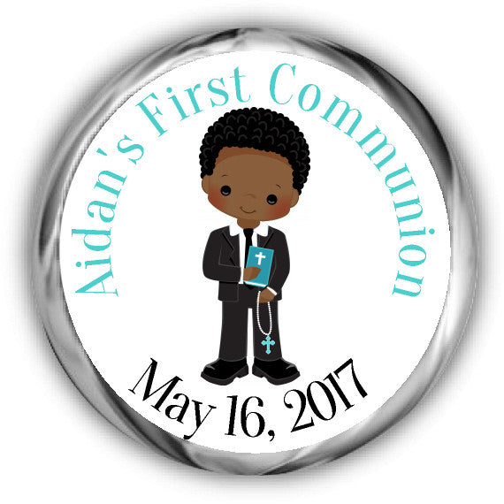 Boy First Communion Kisses Stickers African American