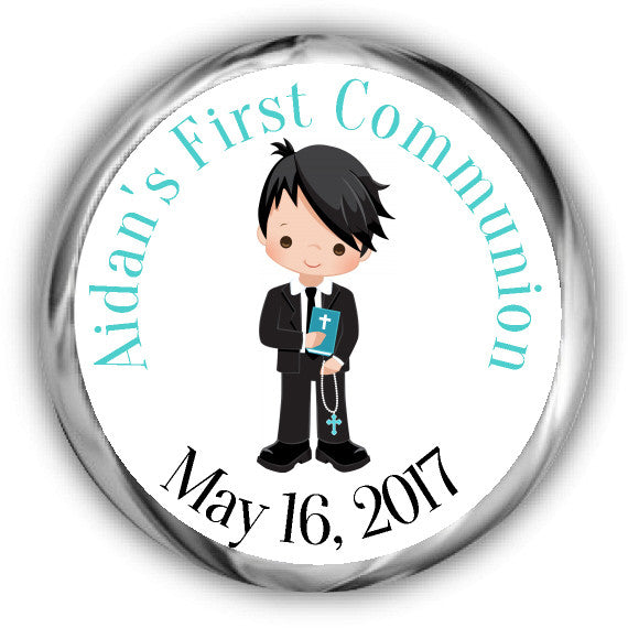 Boy First Communion Kisses Stickers Black Hair