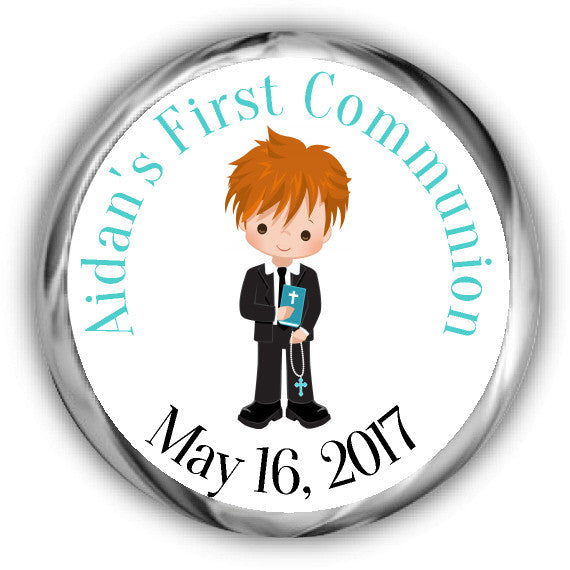 Boy First Communion Kisses Stickers Red Hair