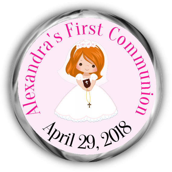 Red Hair Girl First Communion Kisses Stickers