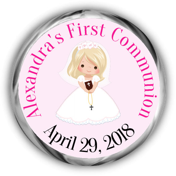 Blonde Girl First Communion Kisses Stickers