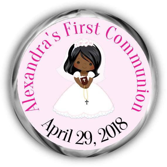 African American Girl First Communion Kisses Stickers