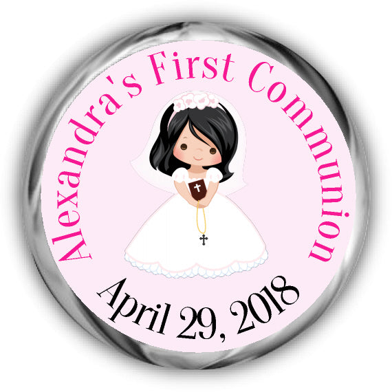 Black Hair Girl First Communion Kisses Stickers