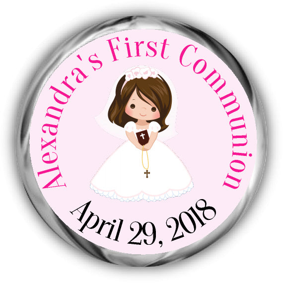 Brunette Girl First Communion Kisses Stickers