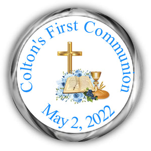 Blue Bible Cross First Communion Kisses Stickers