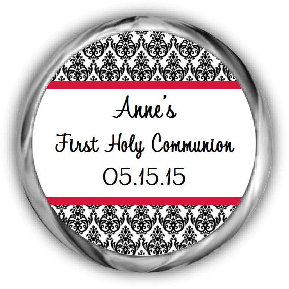 Damask First Communion Kisses Stickers