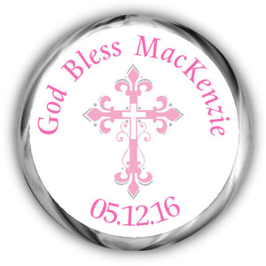 Frilly Pink Cross First Communion Kisses Stickers