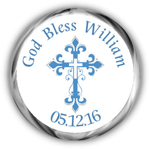 Frilly Blue Cross First Communion Kisses Stickers