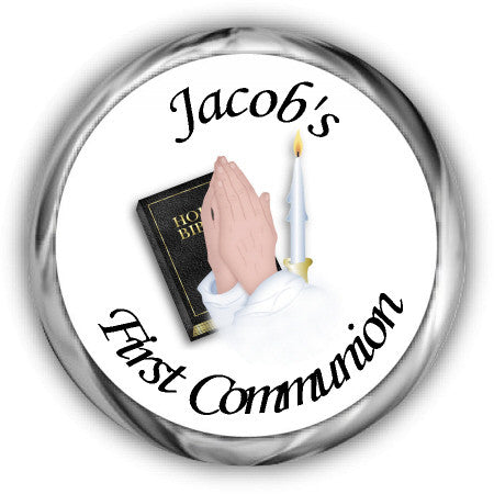 Praying Hands First Communion Kisses Stickers