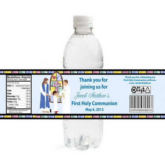 Stained Glass First Communion Bottle Label