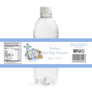 Blue Bible Chalice Communion Bottle Label