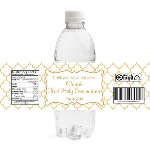 Elegant First Communion Bottle Label