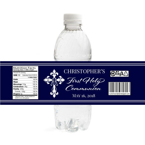 Cross First Communion Bottle Label