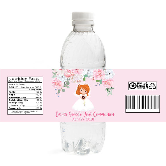 Girl Communion Water Bottle Labels - Red Hair