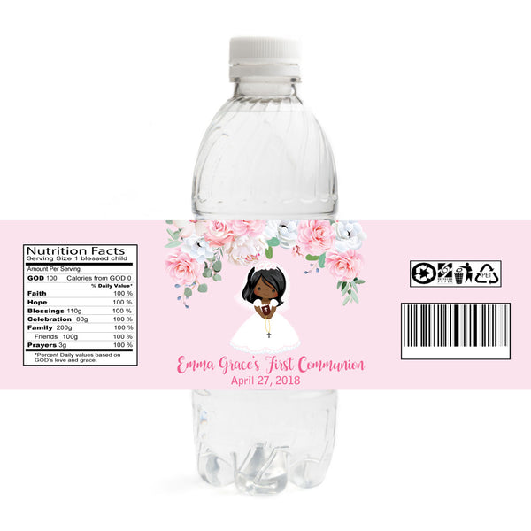 Girl Communion Water Bottle Labels - African American