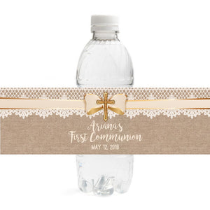 Burlap Communion  Bottle Label