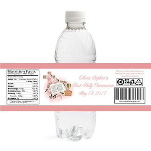 Pink Bible Chalice First Communion Bottle Label