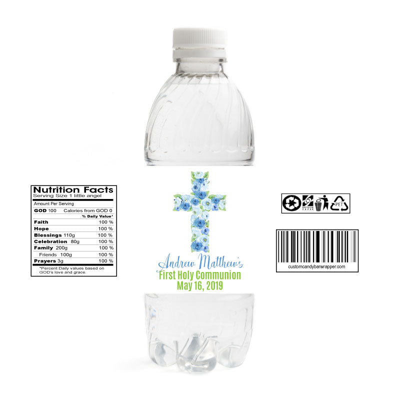 Boys Cross First Communion Water Bottle Labels