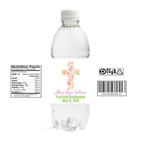 Girls Cross First Communion Water Bottle Labels