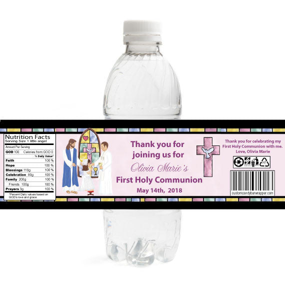 Stained Glass Girl 1st Communion Bottle Label