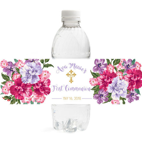 Floral First Communion Bottle Label