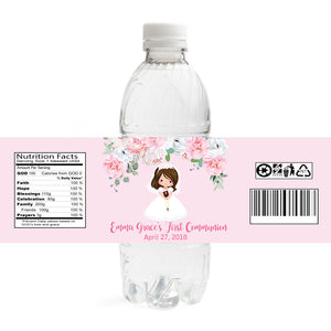 Girl Communion Water Bottle Labels - Brunette