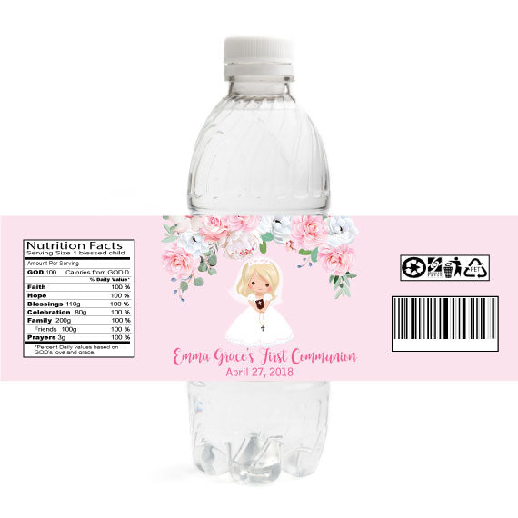 Girl Communion Water Bottle Labels - Blonde