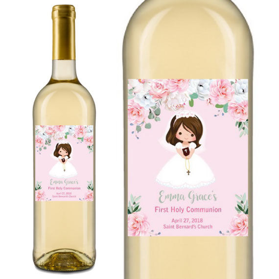 Floral Girl Communion Wine Labels