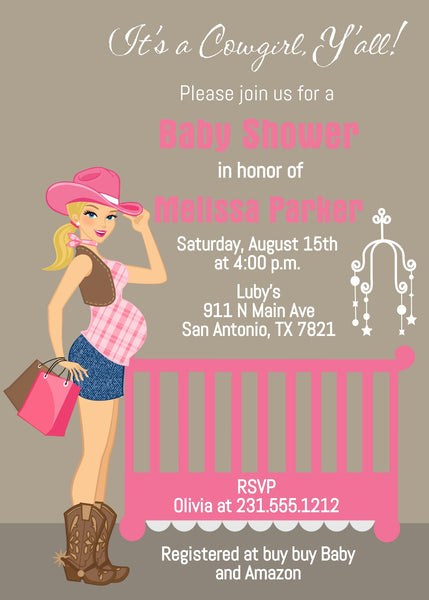Cowgirl Baby Shower Invitations - Blonde