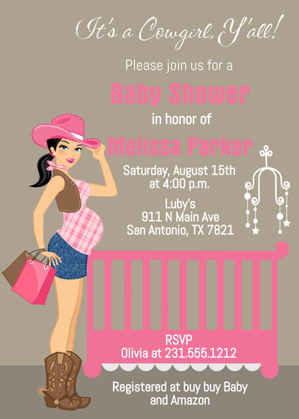 Cowgirl Baby Shower Invitations - Black Hair