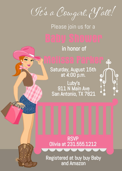 Cowgirl Baby Shower Invitations - Red Hair
