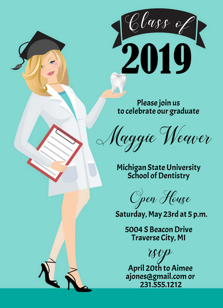 Dental School Graduation Invitation - Blonde