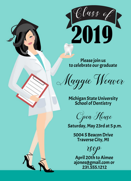Dental School Graduation Invitation - Black Hair