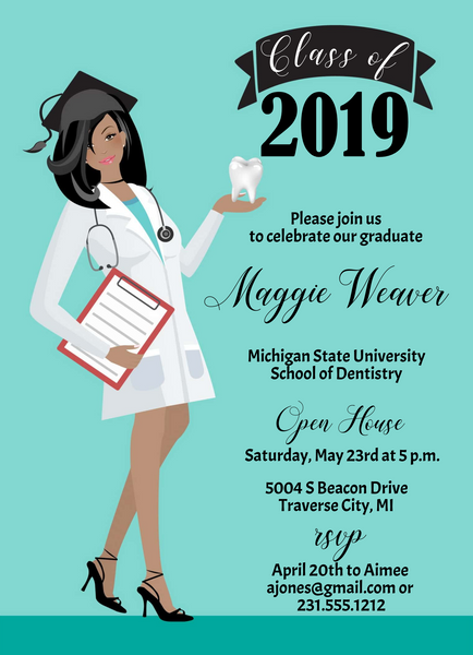 Dental School Graduation Invitation - Darker