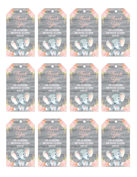 Pink Elephant Baby Shower Thank You Tags