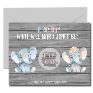 Elephant Gender Reveal Scratch off Cards