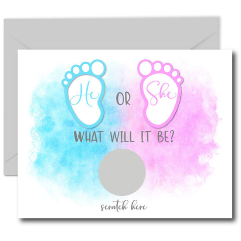He or She Gender Reveal Scratch off Cards